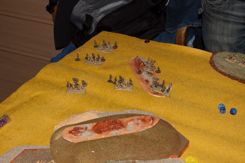 "Sniper opens fire, 3"" mortars with dark orange marker go wide at top right"