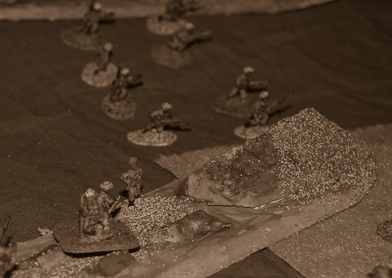 "Lieutenant Singh surveys the situation and decides that it is time to withdraw. 2"" mortar fires the last grenades and prepares to drop smoke to cover withdrawal."