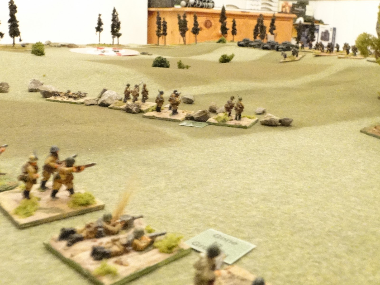 The Soviet infantry make great progress and reach the cover of the gully on the Soviet right