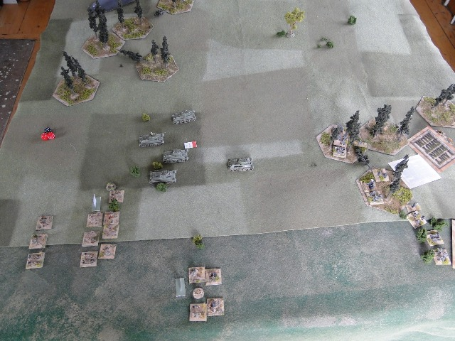 Blinds revealed at the other end of the table. One armoured platoon, an infantry platoon and CHQ with MMGs