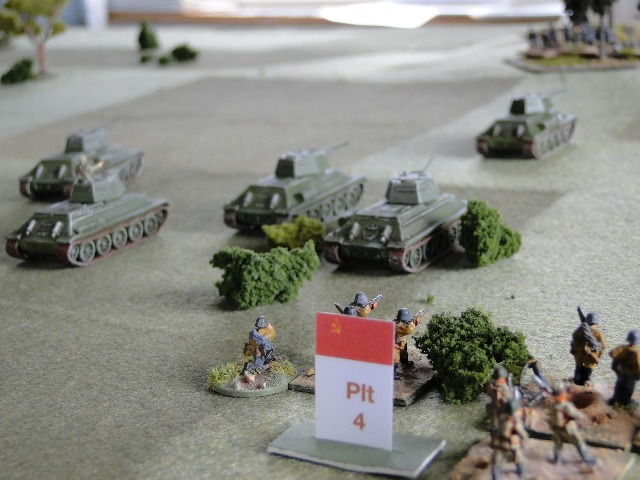 Platoon 4 advance on the wood supported by a platoon of T34s, confident that the previous waves had silenced the Bosch