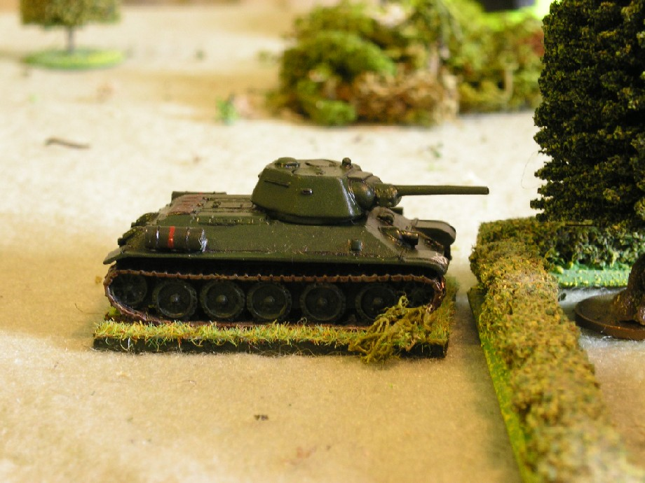 A T-34 just before it is blown to bits by a panzerschrek!