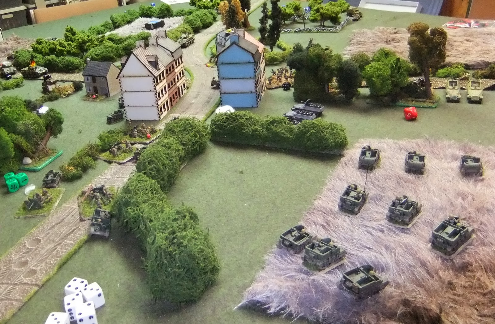 AT Plt deploys to engage Panthers while Carrier Plt outflanks the Germans