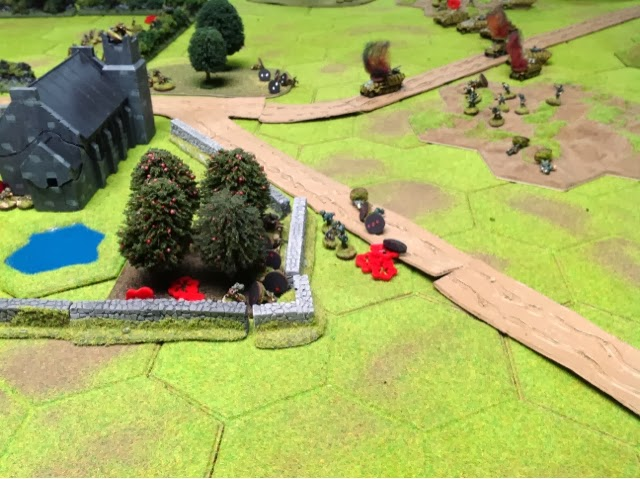 A desperate bid to storm the church yard fails with heavy losses. This breaks the infantry attack.
