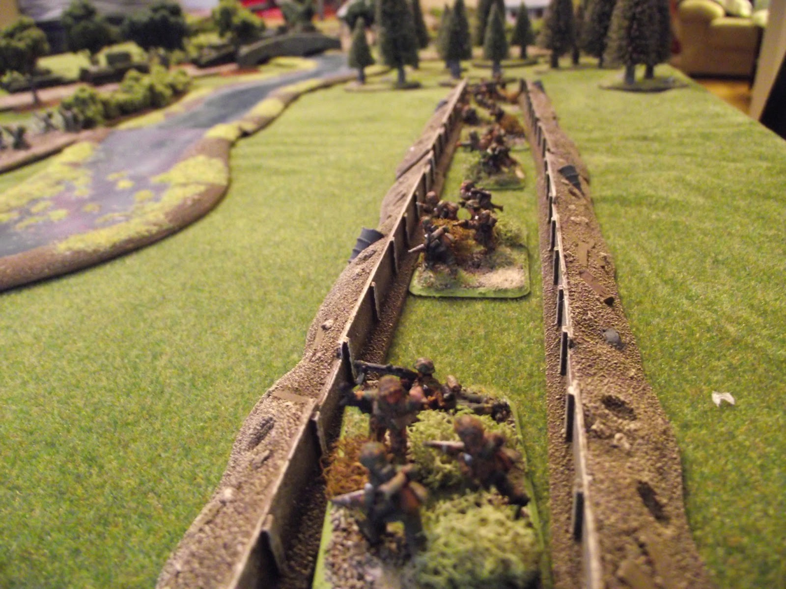 German platoon one in a trench line to the left of the junction and defending a ford that would give the allies another crossing point. The ford also has some barbed wire to its front.