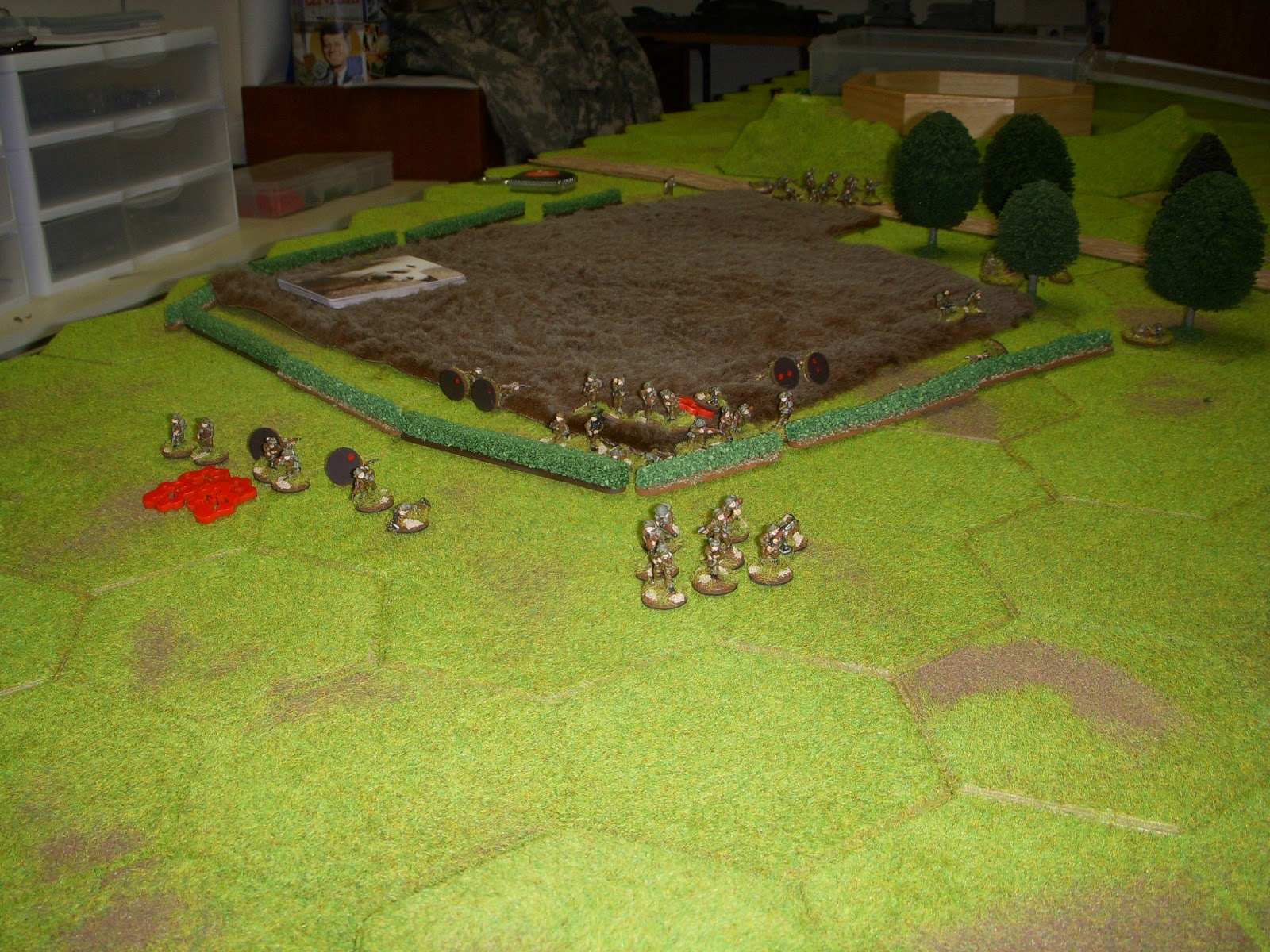 1st Platoon jumps the gun and starts to attack before effective smoke obscures the MG in the house. Casualties are heavy.