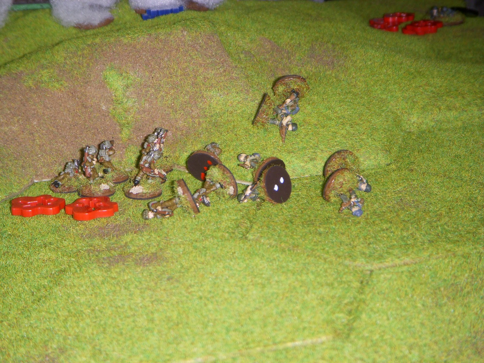 A German squad tries to hit the isolated squad in close combat but are defeated with heavy losses. The attack does make 1st Platoon combat ineffective.