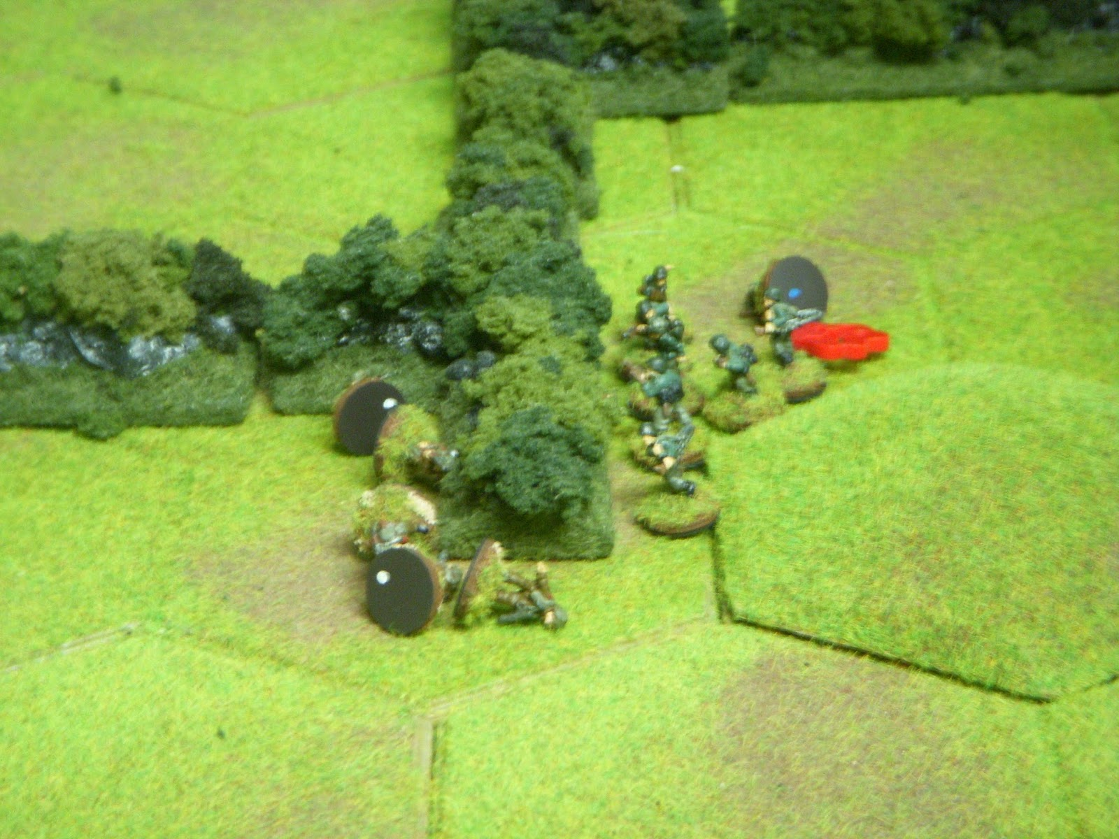 A squad in the centre is not so lucky: five men down in an ambush