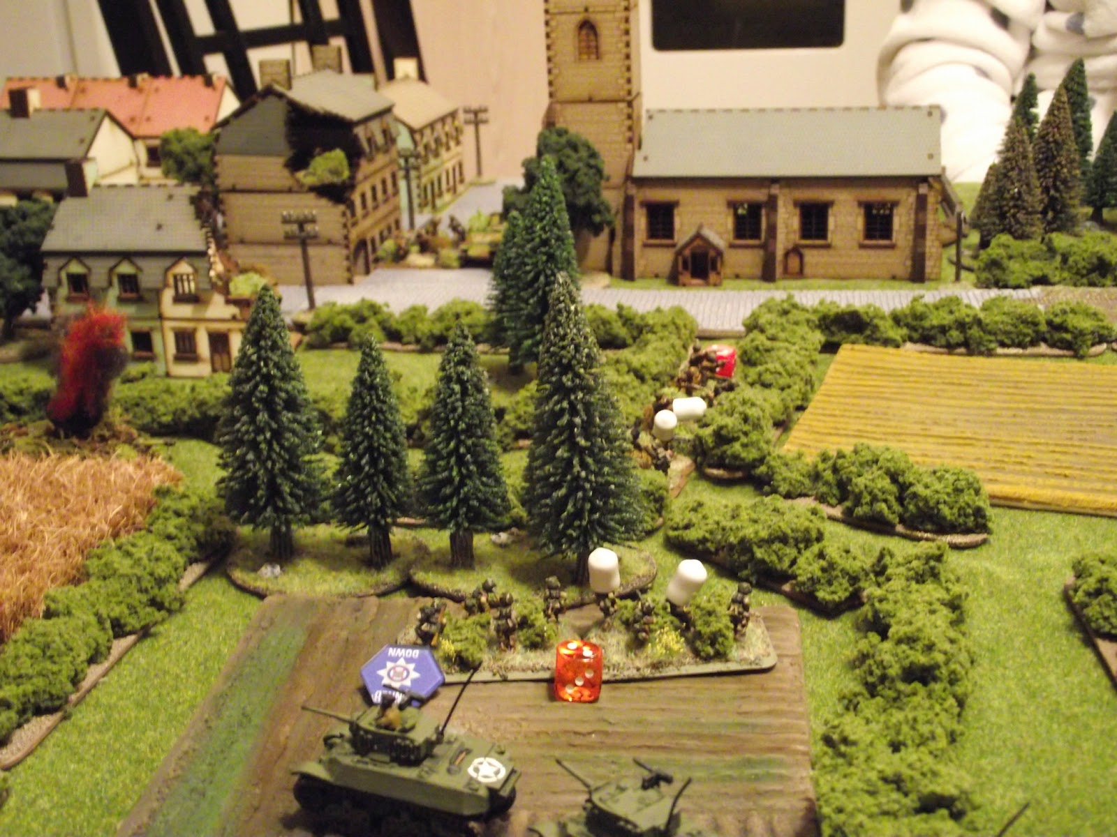 The surprise of the night. 2nd squad from the 101st airborne platoon races to the exposed flank of the 3rd SS squad and is hit mid run by the sniper, killing one man outright, and pinning the squad... stopping them dead.... darn!