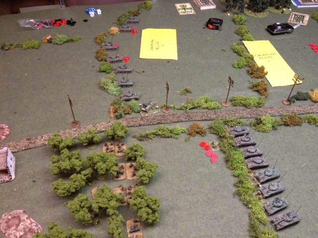 While on our right, more armour rolled up to avenge their fallen infantry supports as a kind of tracked firing squad