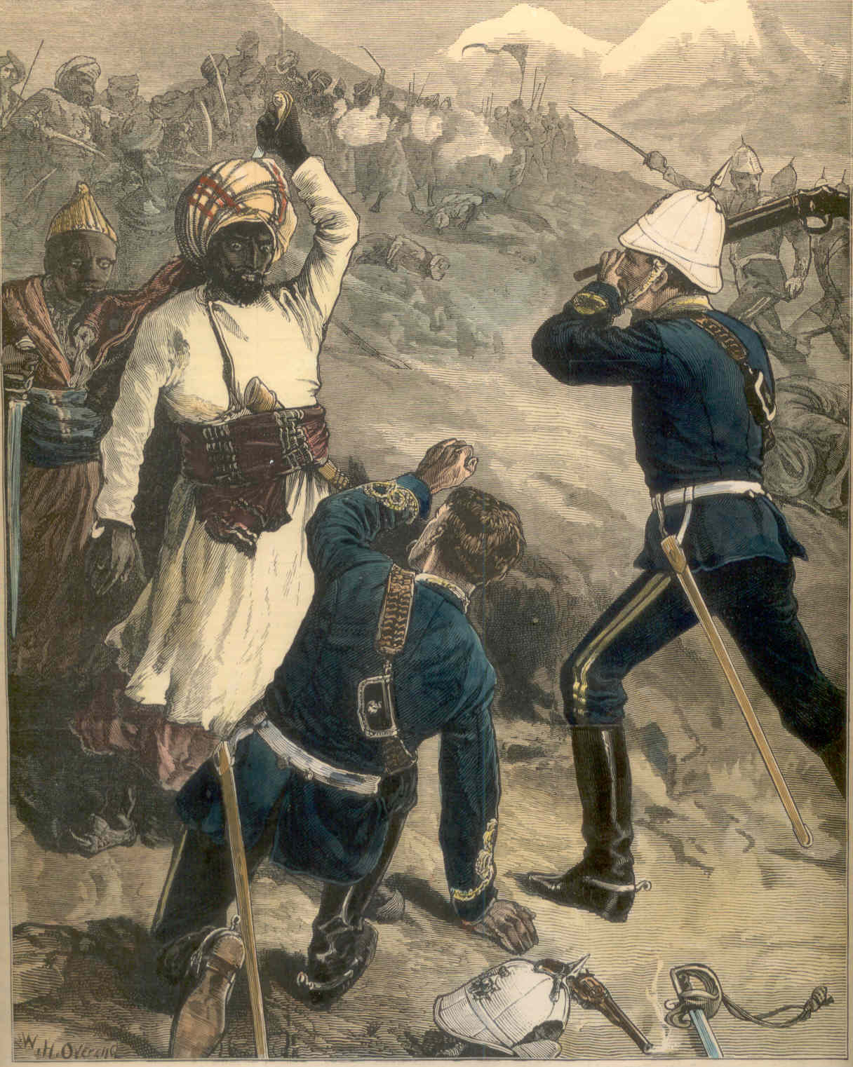 "An Incident in the Battle of Futtehabad, April 2nd 1879:  ""A risky moment was experienced by Captain Manners C. Wood, 10th Hussars.  An Afghan had cut through his helmet. He fell, and was seemingly at the mercy of his opponent, who, being wounded in the right arm, had his long charra in his left, when Lieutenant Fisher, of the same regiment, came up, and brained the Afghan with the butt end of a carbine.""  Illustrated London News, 1879 (Author's Collection)"