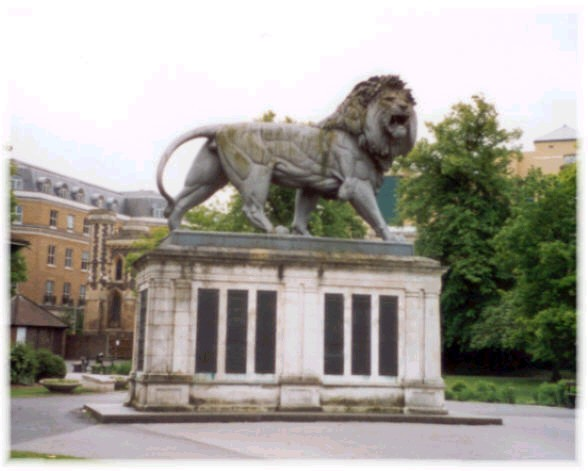 Erected in 1886, the Maiwand Lion stands in Forbury Gardens in the centre of Reading, Berkshire, and commemorates the death of officers and men of the Royal Berkshire Regiment in the 2nd Afghan War (Author's Collection)