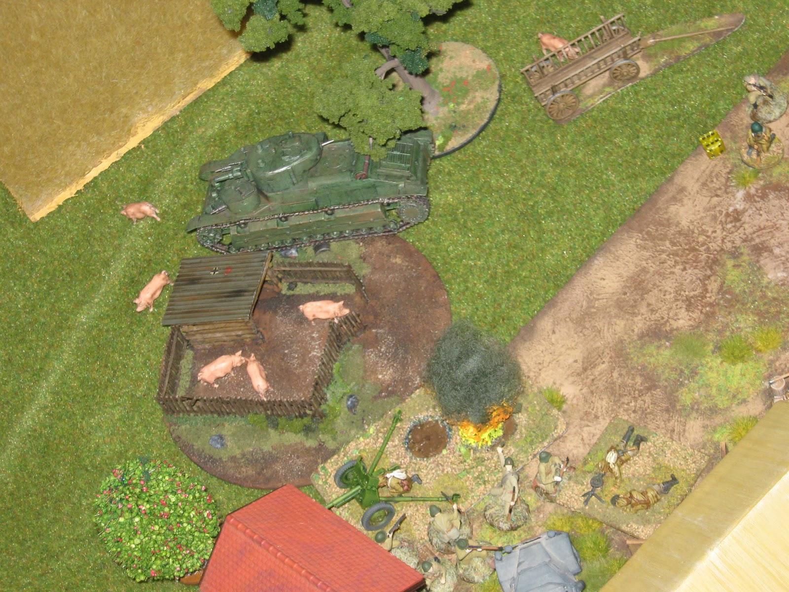 Oink, oink! German (?) pigs flee in terror.