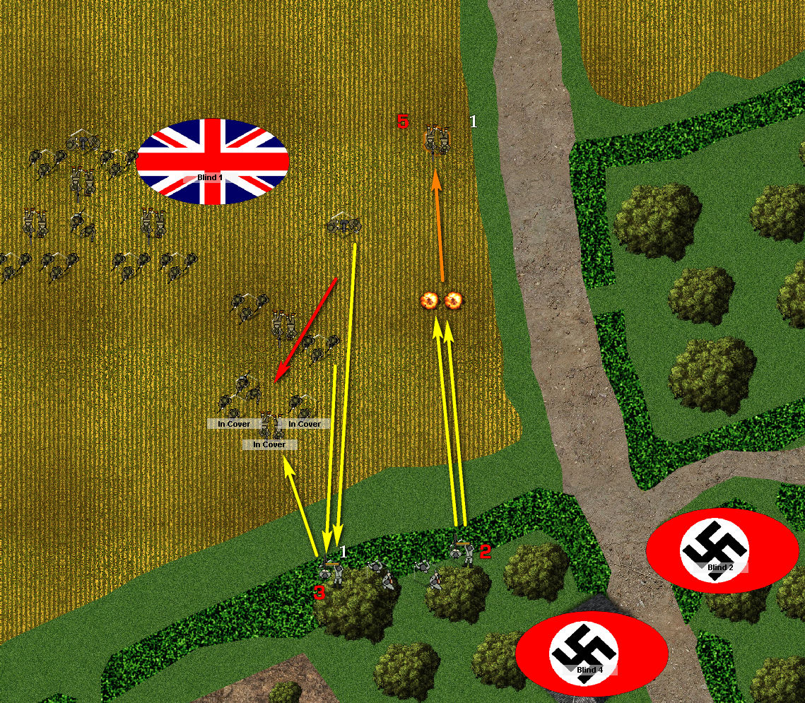 The British fall in a hail of MG42 fire