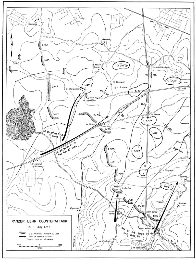Map of the Panzer Lehr Divisioncounterattack in July 1944  (via US Army Center of Military History)