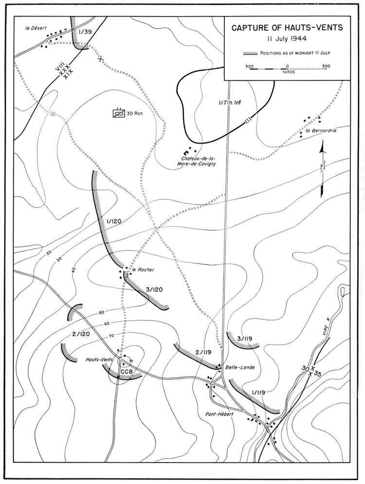 Map of the battle at Hauts-Vents, July 11, 1944  (via US Army Center of Military History)
