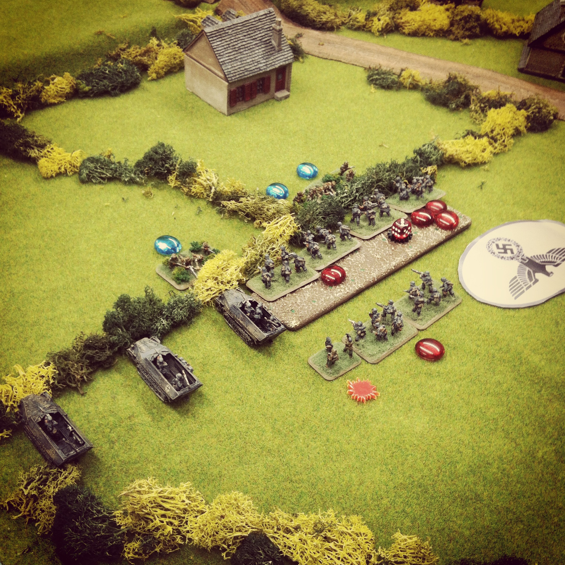 A German platoon encounters a minefield and takes heavy casualties
