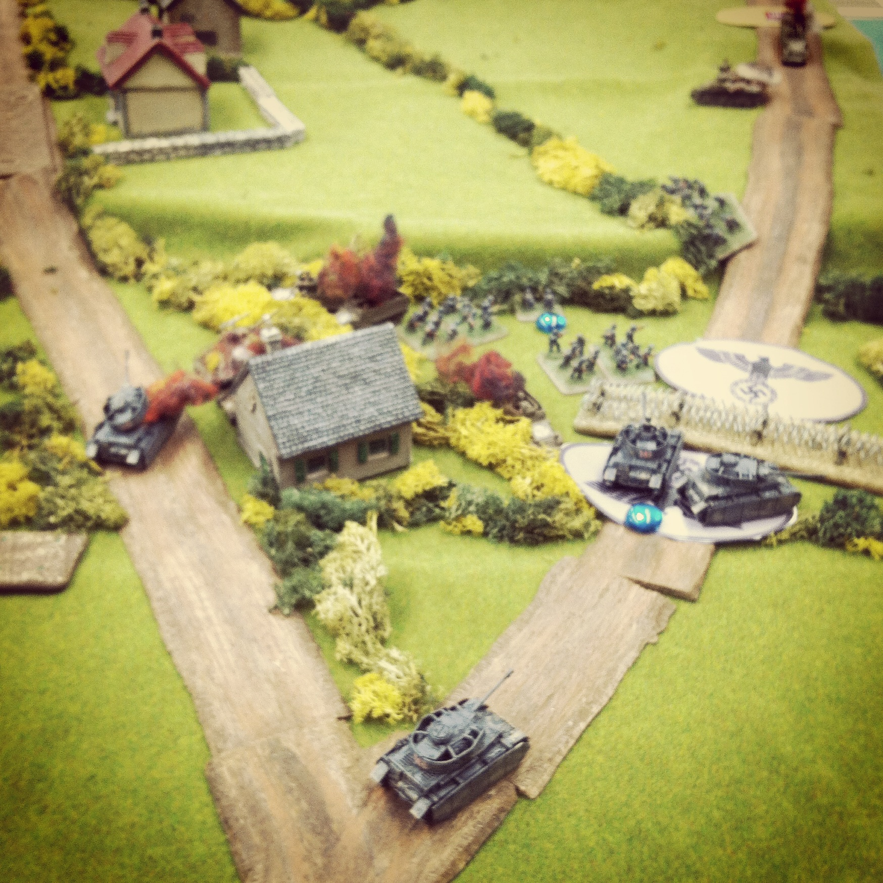 Panzer IVs switch routes, making for the American flank