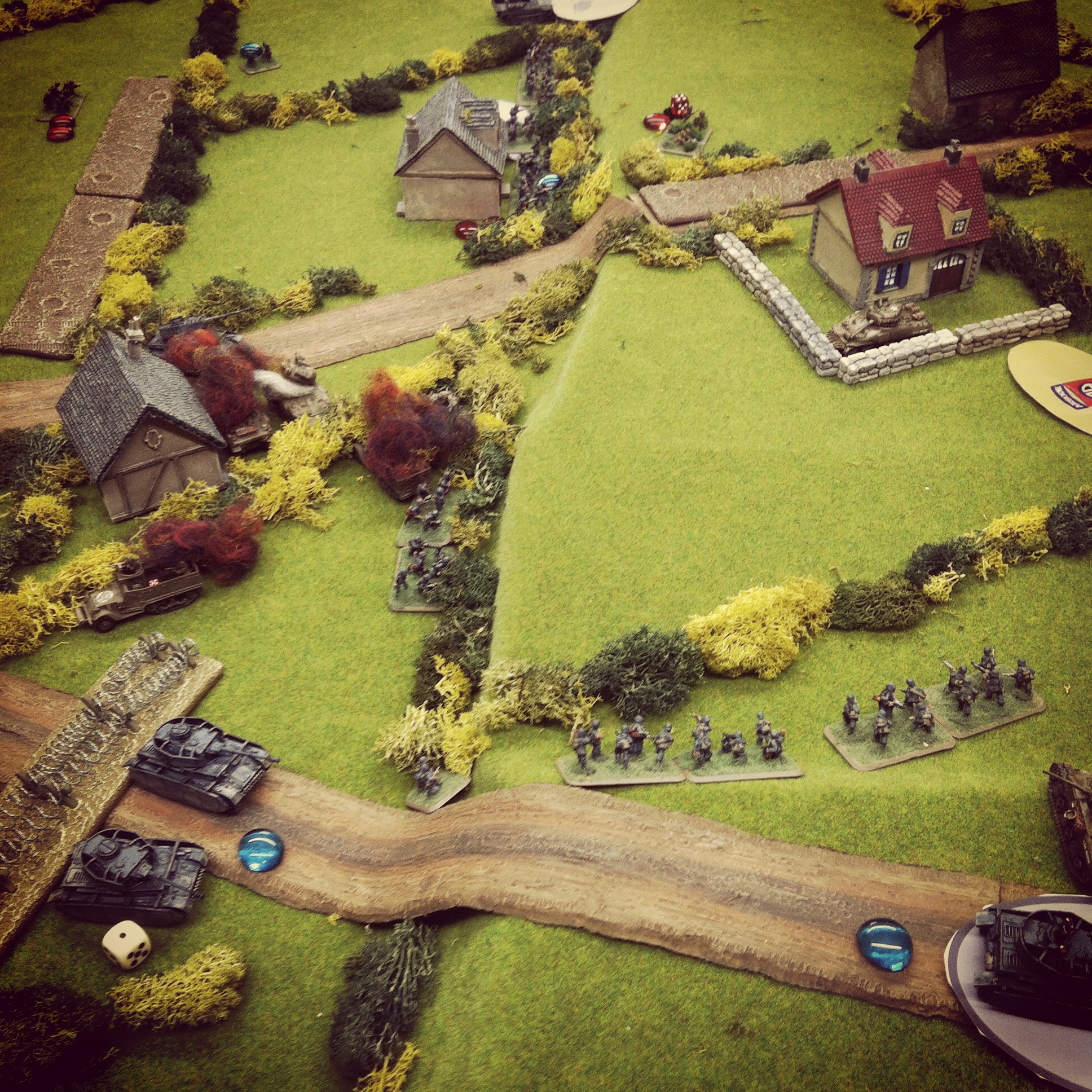 Panzer IVs and Grenadiers move on the US left and expose a Sherman platoon at an objective