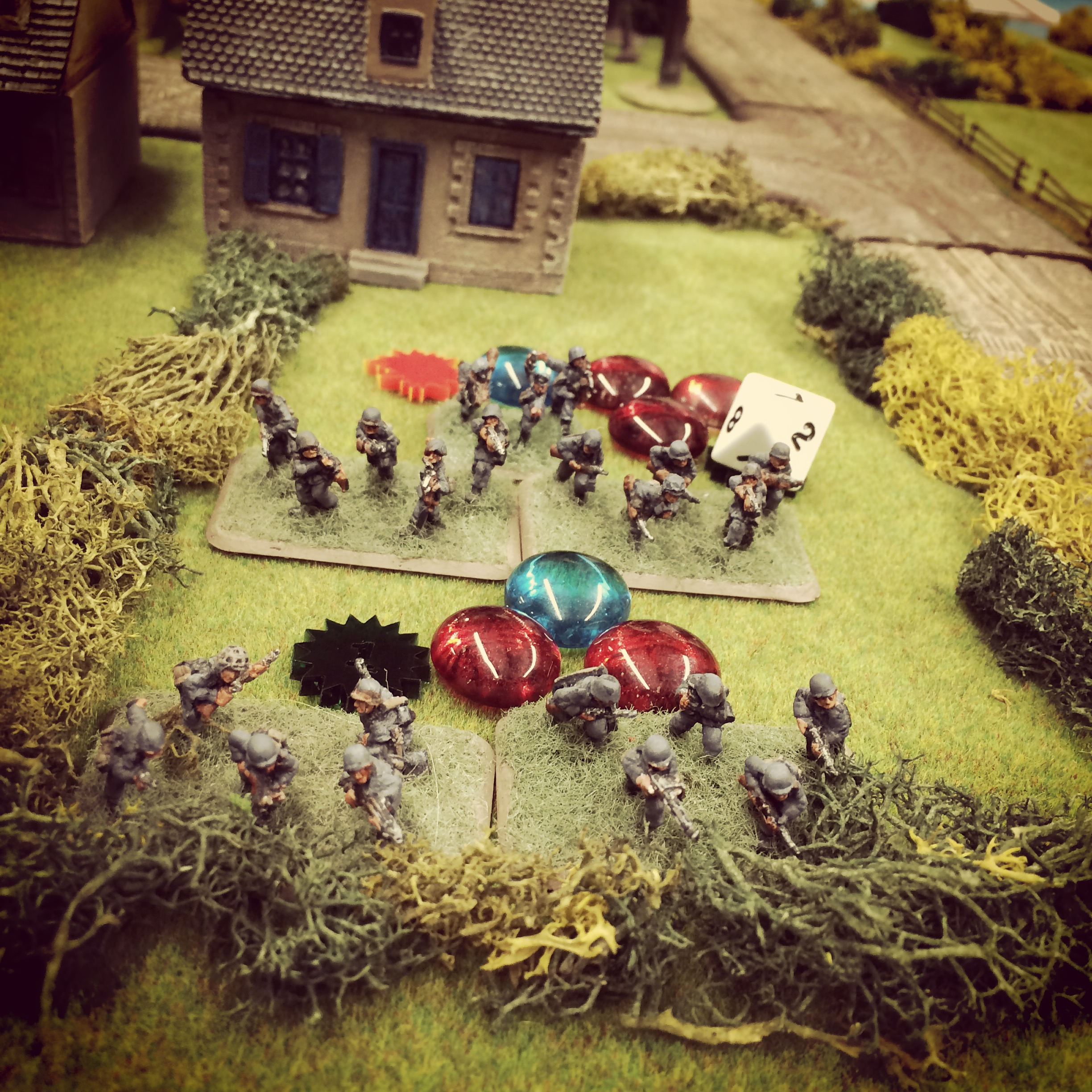 The remnants of the first German rifle platoon look to reposition to cover