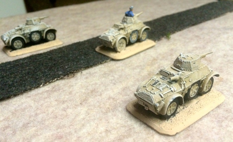 Autoblinda armoured cars race at the village, but are driven off by a platoon of Vickers guns.   Driving an up-engined tin can into a hail of .303 lead proves too much for the heroes of Italy.