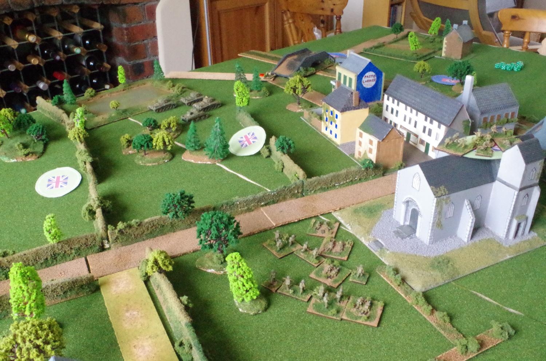 The British advance towards the village