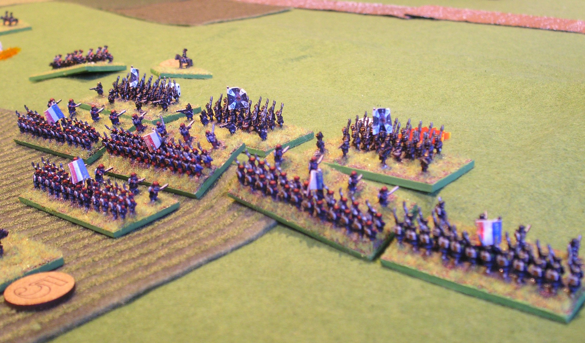 Hitting the prussian left (note the cavalry in the background)