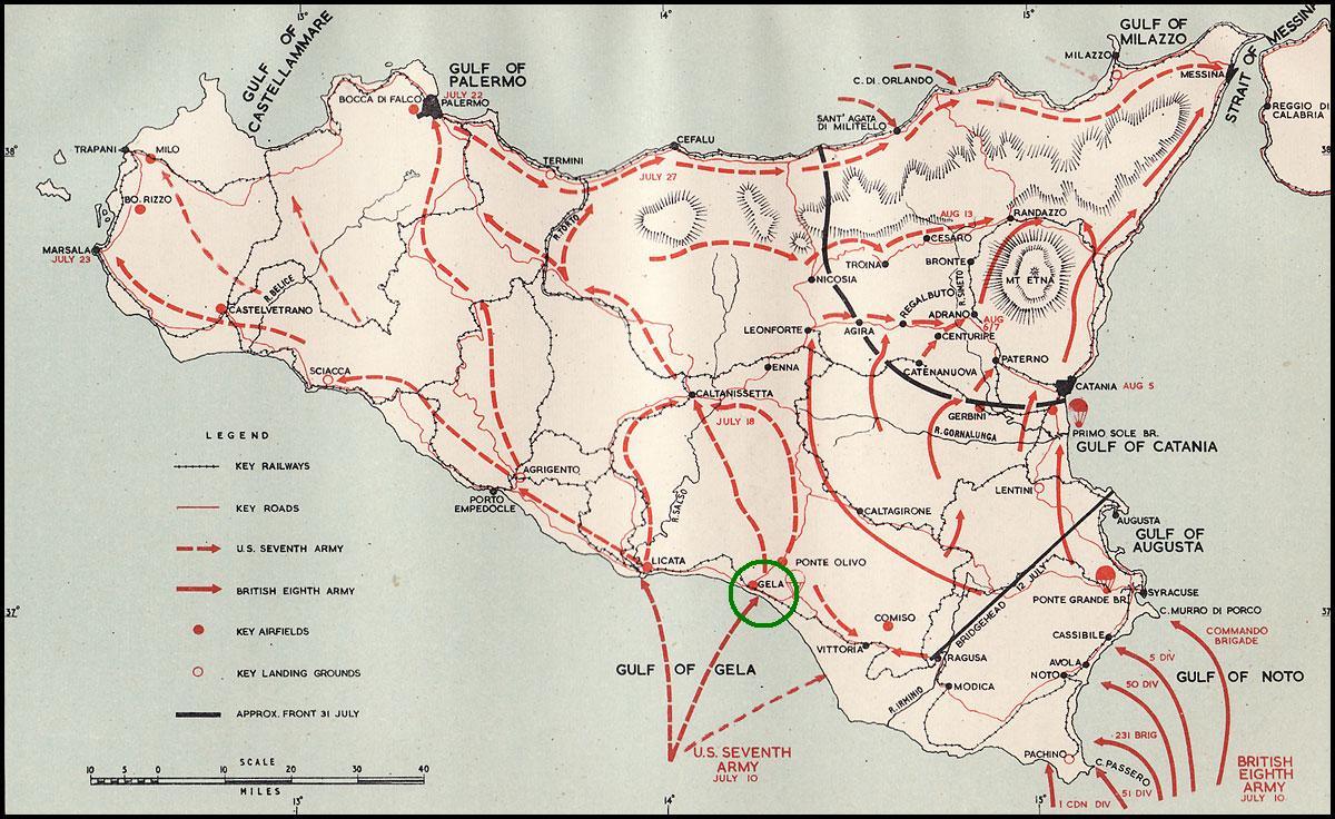 Operation Husky, July-August 1943 (Gela in green)
