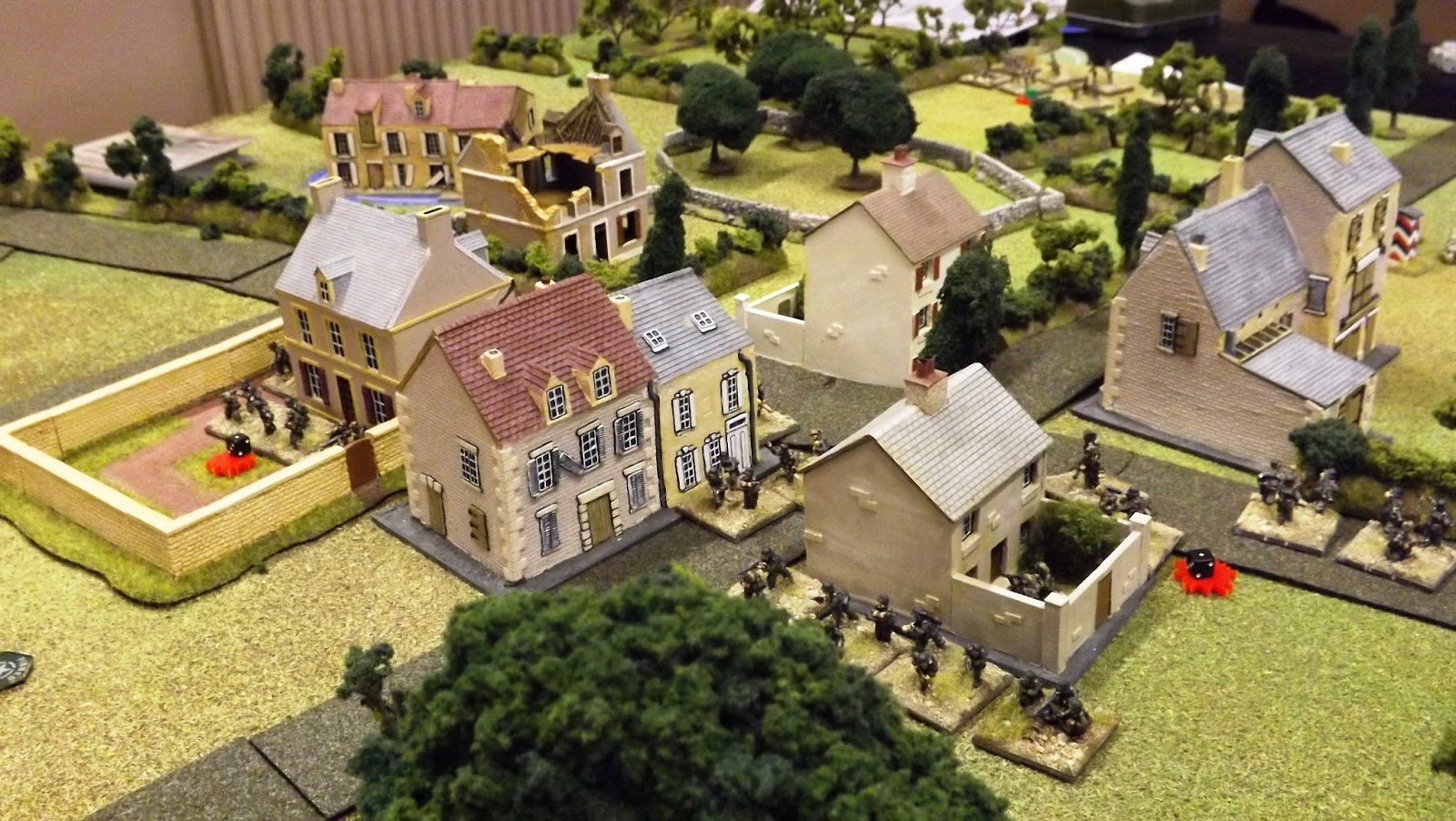 German infantry set up to hold the eastern crossroads at the centre of the village