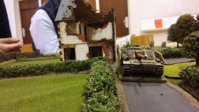 StuG makes an appearance. Darren's section with the Bazooka is directly behind it forcing a section from the wall into the house.