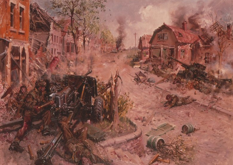 The picture, above, by Terance Cuneo appears to be based on a drawing made by Bryan de Grineau a war artist from The Illustrated London News who was with Second Army at Nijmegan at the time; but under supervision from an airborne officer who was present at the action made a sketch of it about a week later.  It shows Baskeyfield about to fire his last round at the SPG  coming down Acacialaan and just before he was killed by the SPG further up the road. On the road lies a Para shot while attempting to join him. Baskeyfield's original 6lbr gun, across the road, has been swung round before it was disabled.
