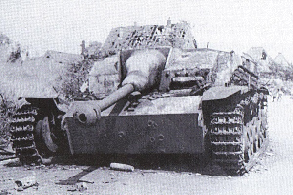 One of Baskeyfield's victims, a knocked out StuG IIG with multiple 6lbr hits on its front plate with one finally penetrating the transmission box. This vehicle was knocked out 200 yards in front of Baskeyfield's gun position on Benedendorpsweg, and recorded as being a vehicle from Sturmgeschutz-Brigade 280.