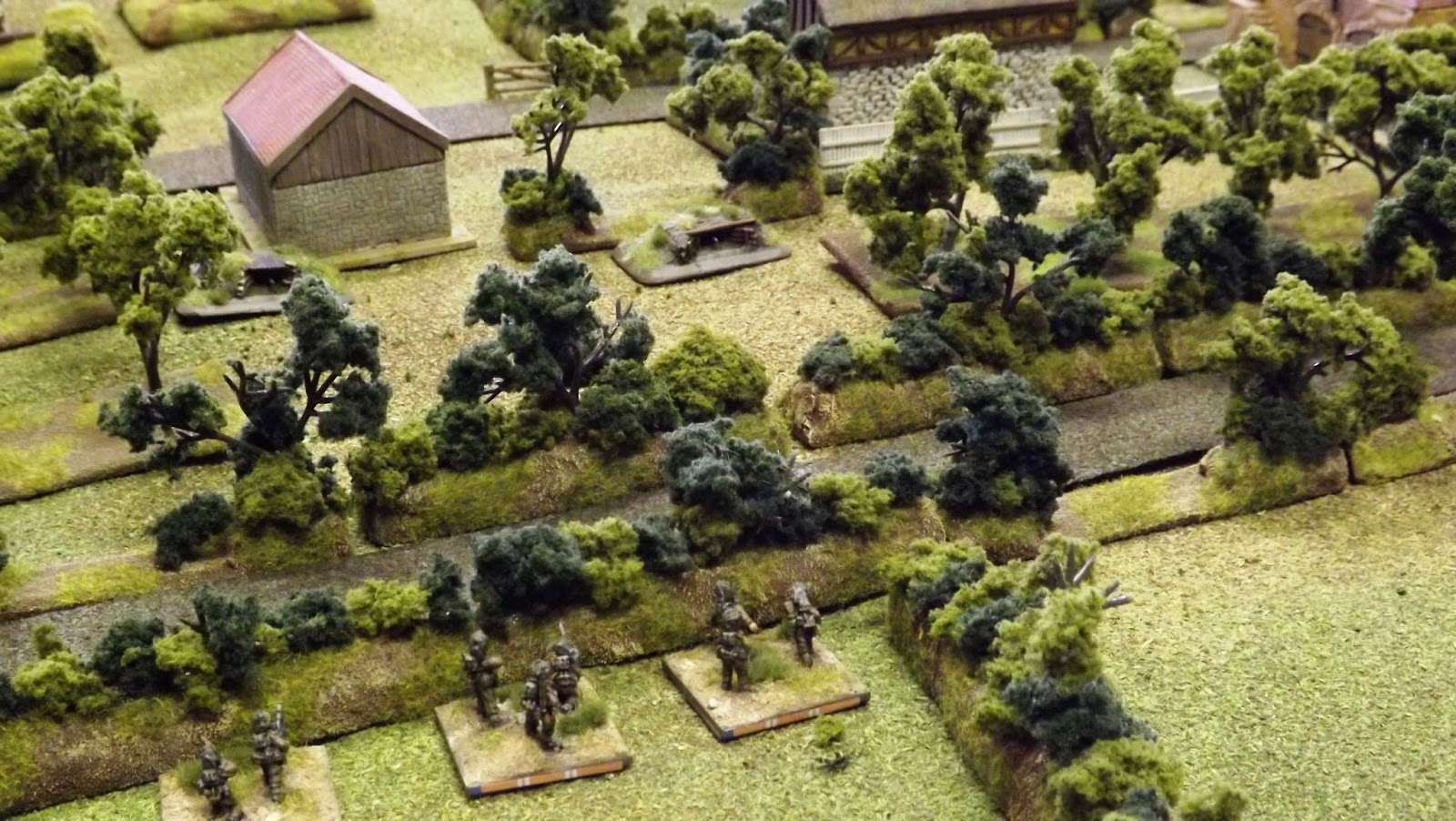 The Welsh Guards infantry come under withering machine gun fire across the lane