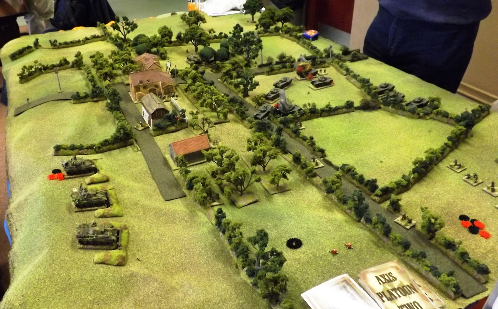 The British attack is halted with the survivors looking to disengage. The opposing tank platoons face off across the hill side as the battle subsides in the centre