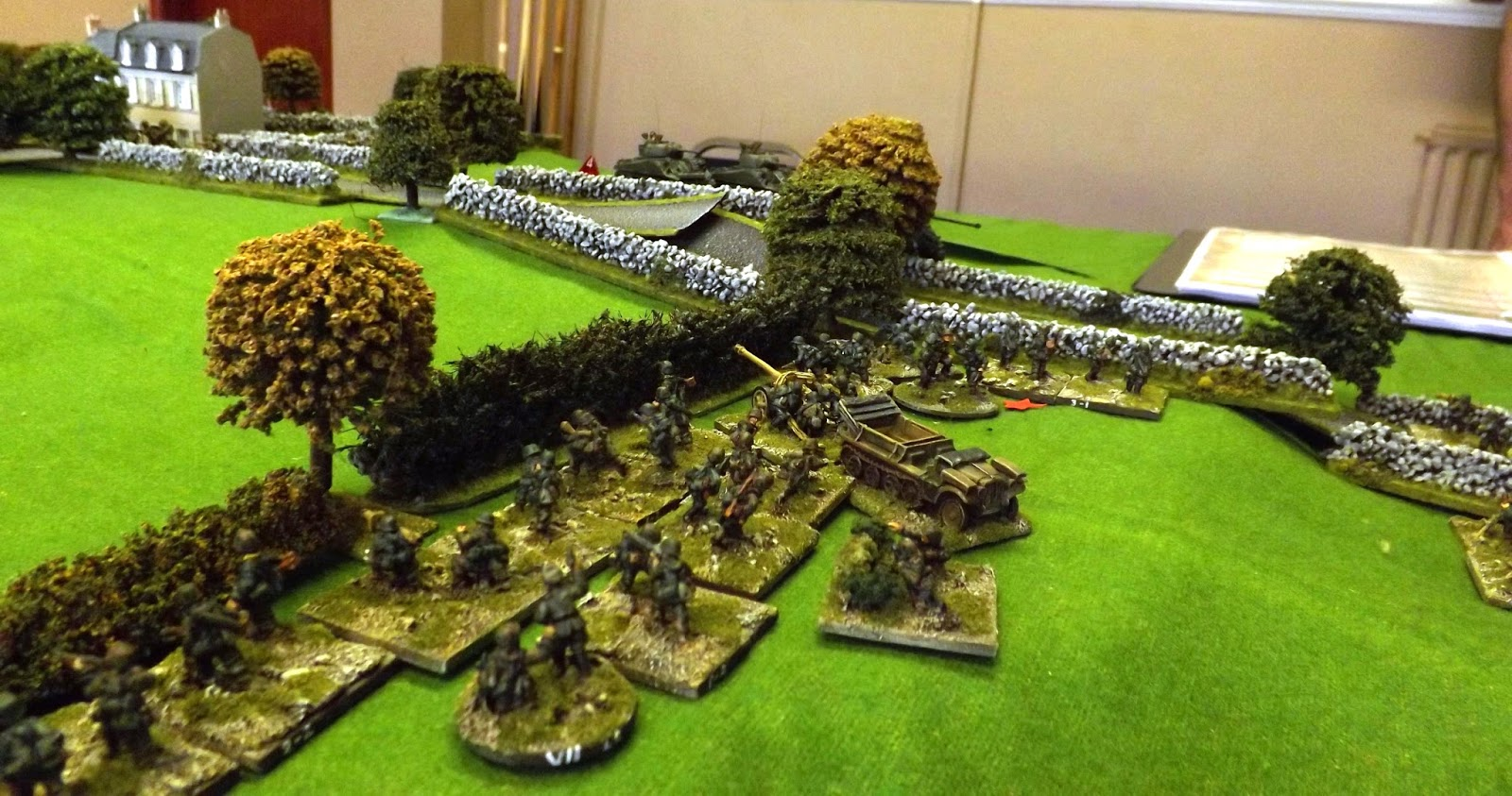 The German defenders are bundled out of their forward line