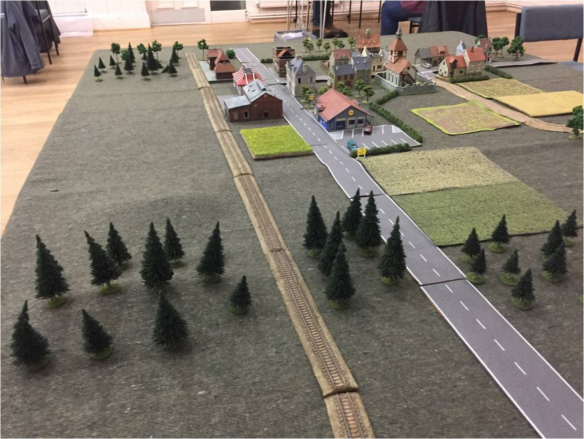 The table viewed from the East:  the left flank of the Soviet entry point