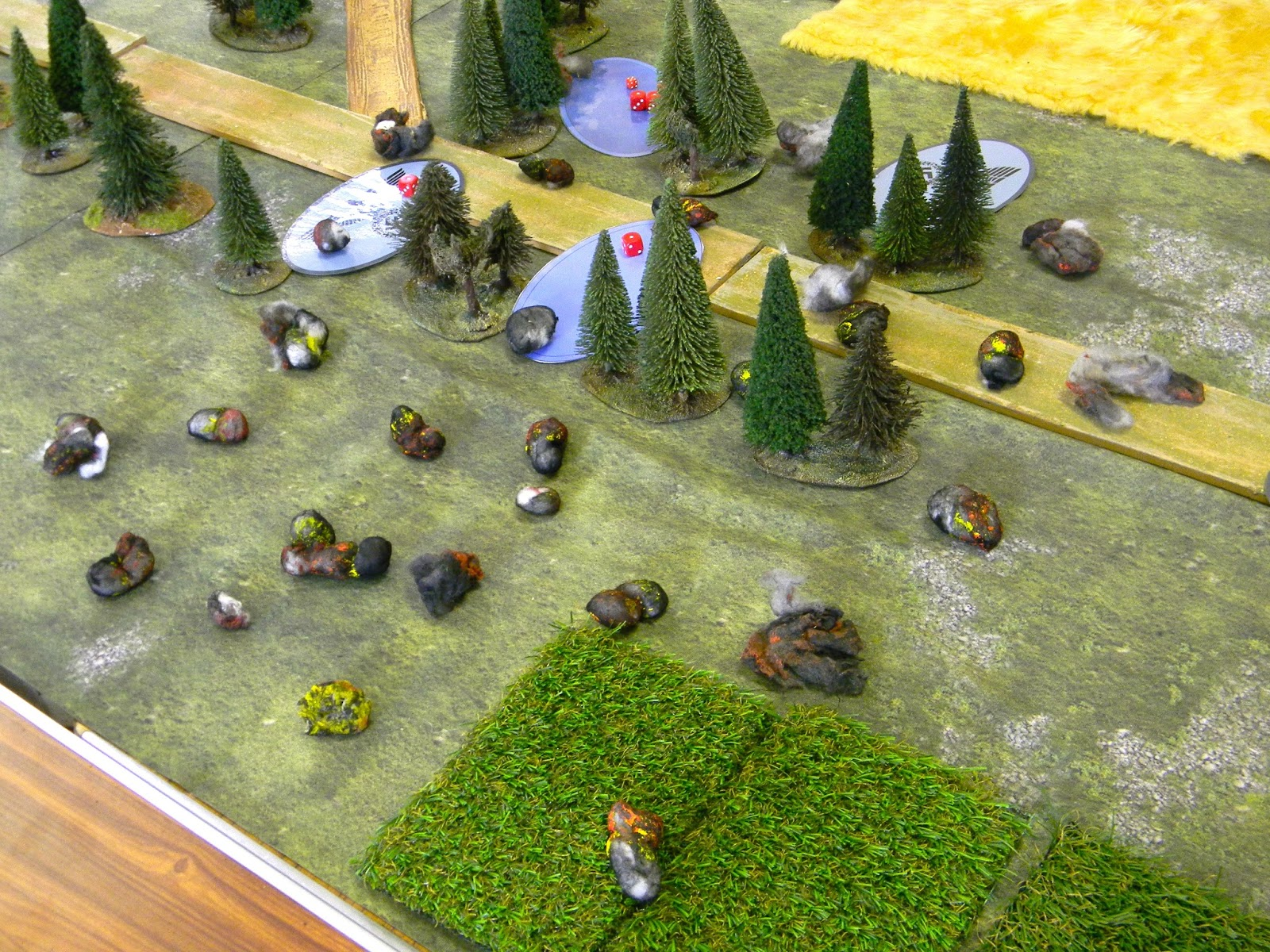 "The game starts with a Soviet long range artillery ""Super Stonk"" covering a 24"" square area.  Some German units were under this and casualties taken but not as bad as it could have been partly because two units are in fact ""dummies"" not actual - part of the subterfuge in IABSM !"