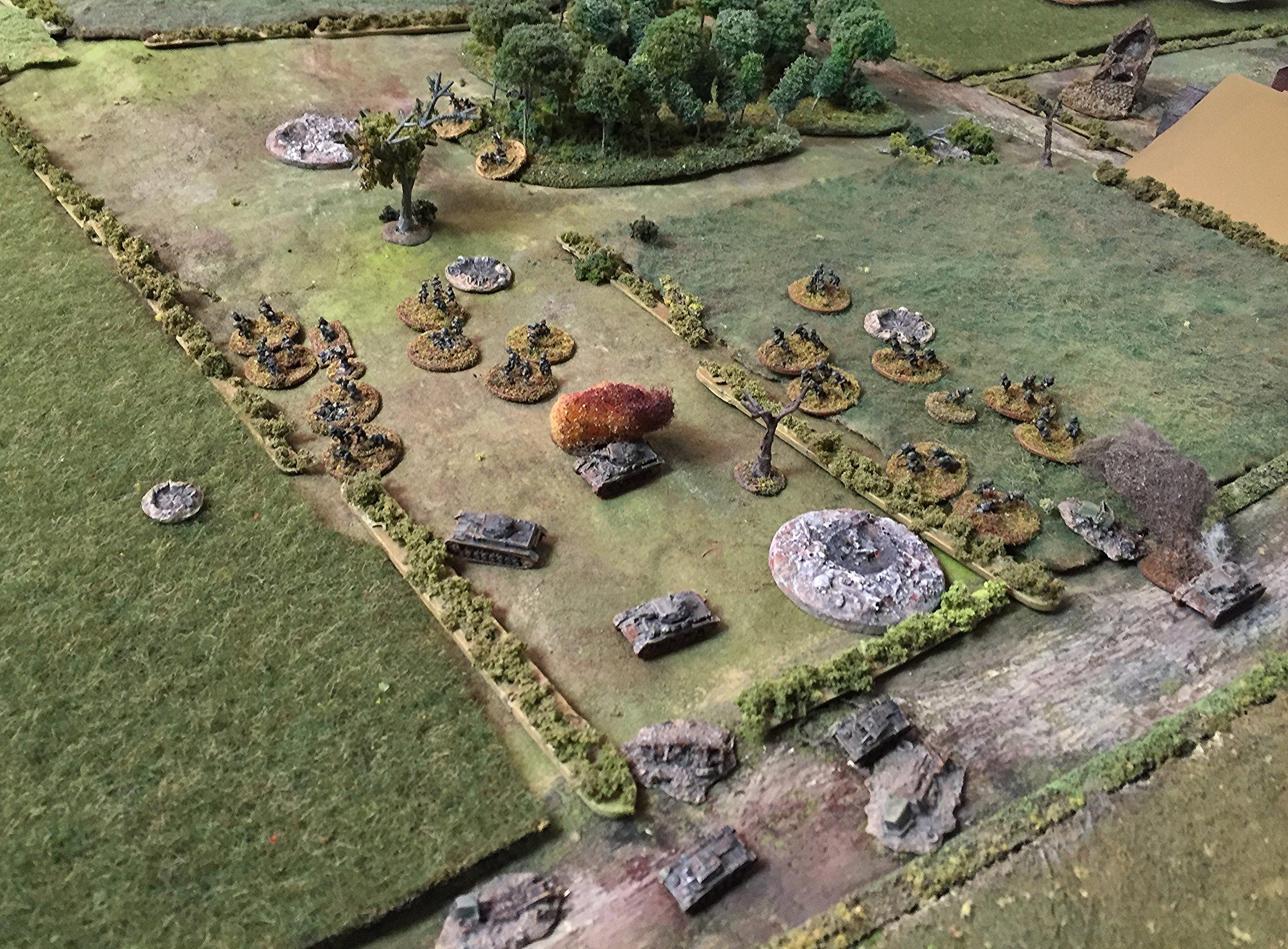 German Infantry Moving Around the Burning Panzer IV
