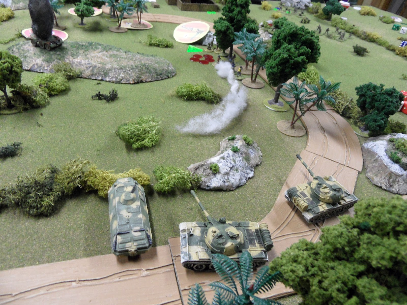 The tanks are joined by the BDRM of the Guards as they fire upon the IMC troops in the woodline.