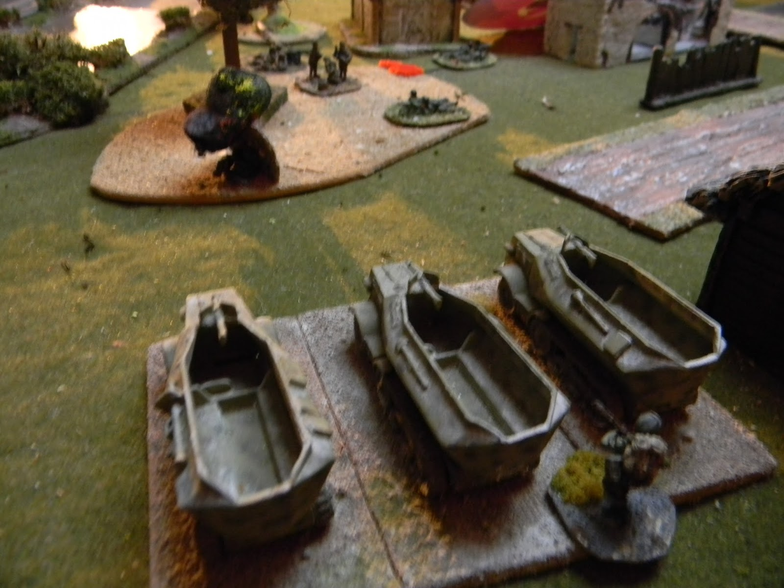 A dash forwards by three German half-tracks with MGs mounted on the front, pepper the woods and hit the Russian HQ unit