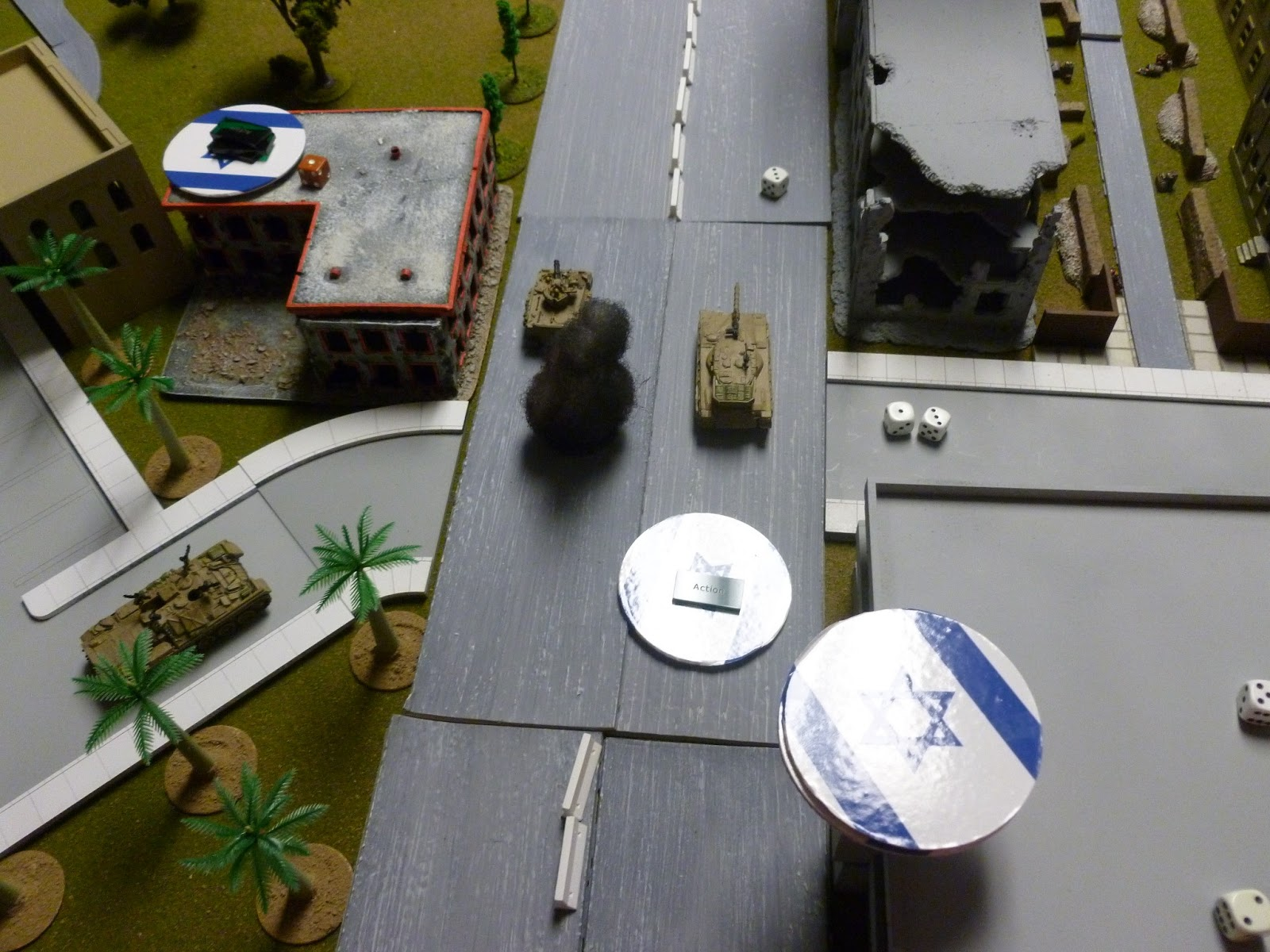 Just as the IDF Blind gained the rooftop, the PLO got some fire-support from its mortar teams, firing on a pre-registered spot in the intersection. This fire did little to slow the IDF advance.