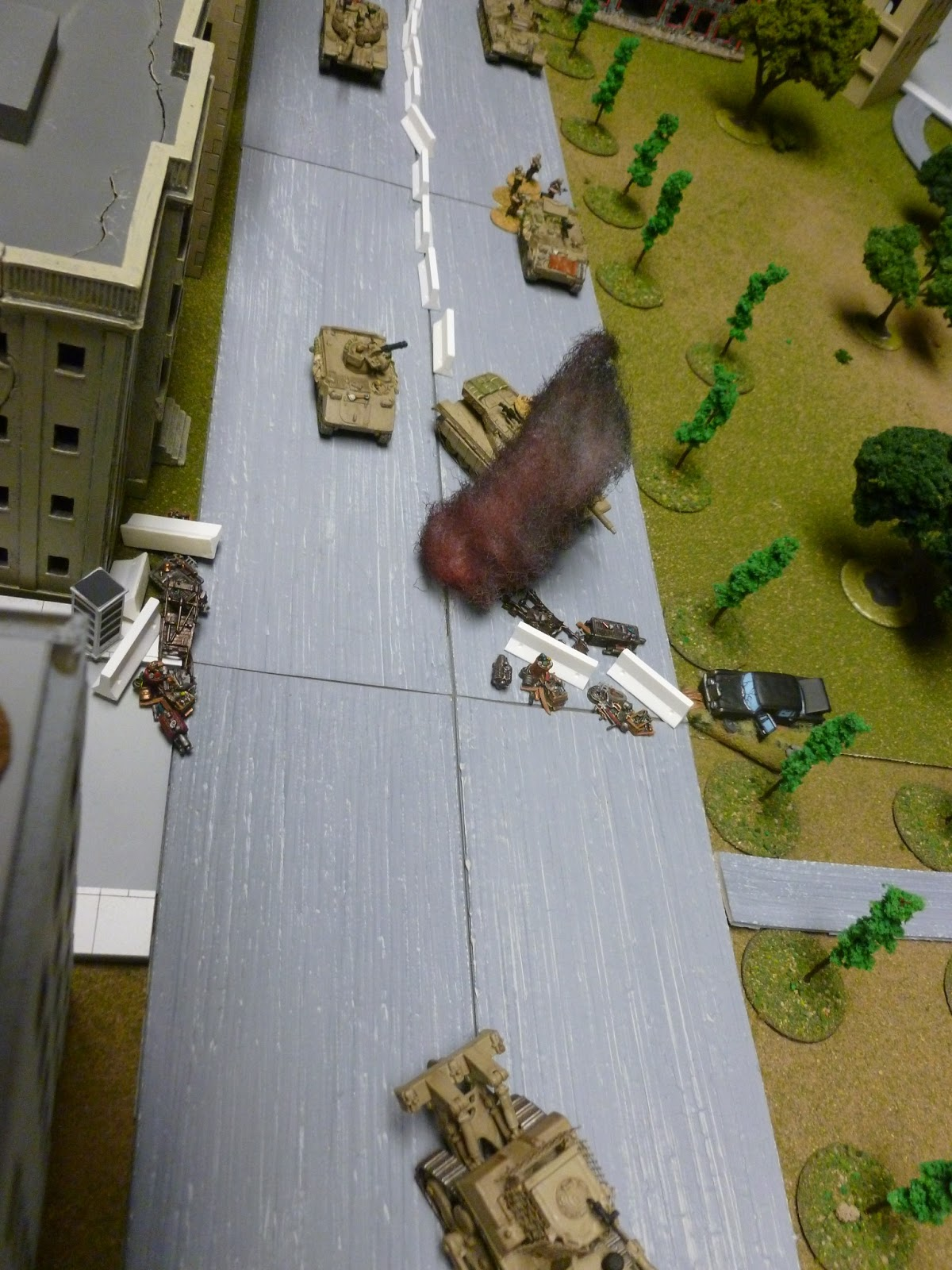 A near-miss with the mortars on the M163 as the D9 lumbers onward.