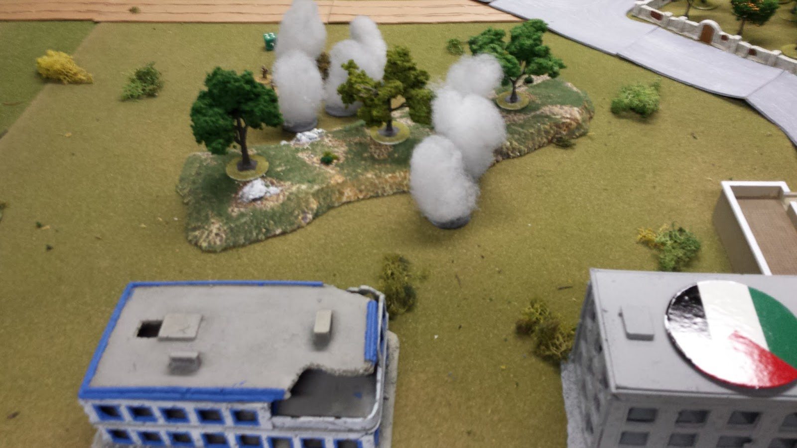 PLO forces abandon the hill as Israeli recon moves forwards under an endless smoke barrage.