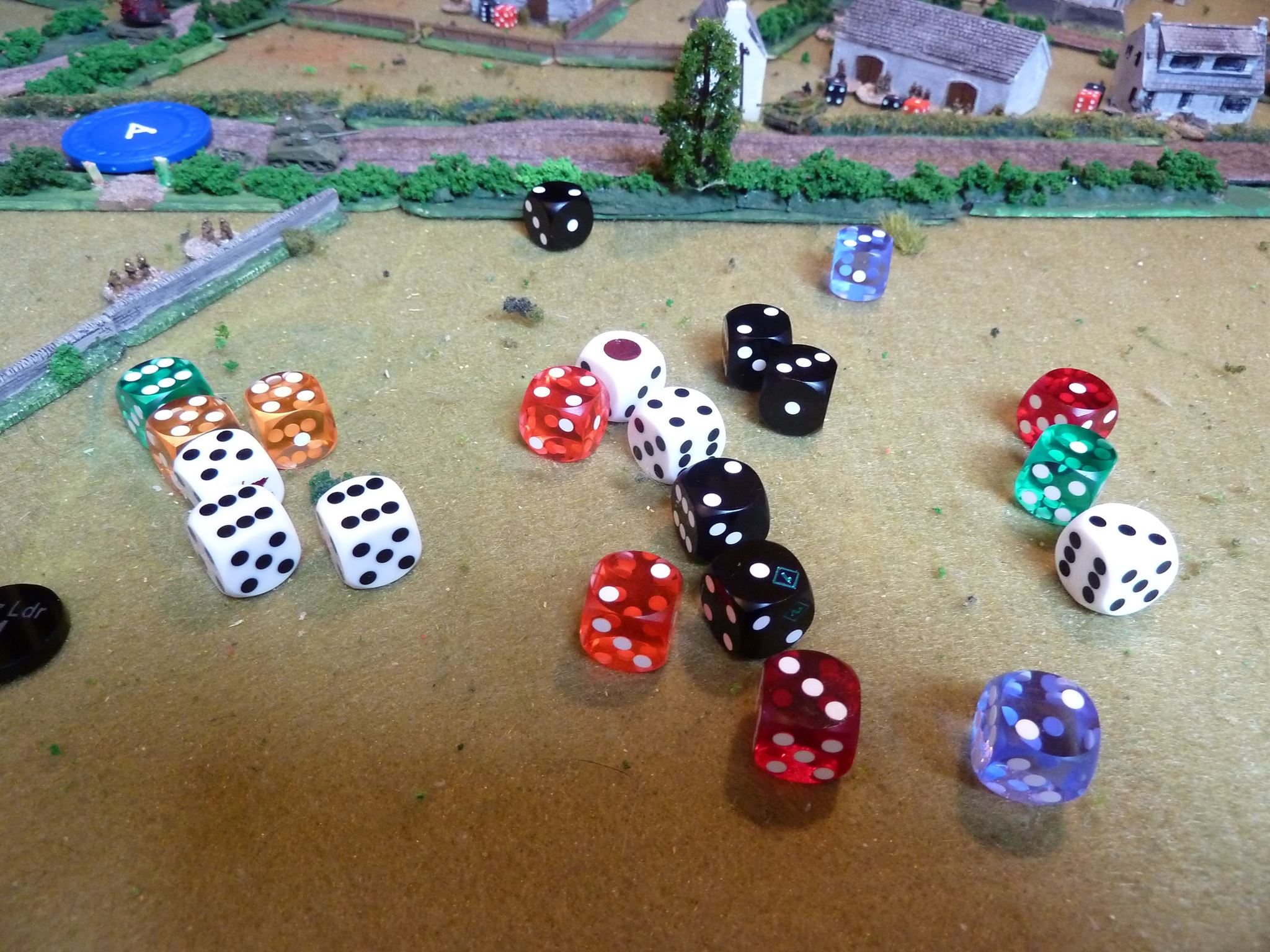 However, despite all those kill dice including three added for the critical hit, the Sherman survives with no effect!