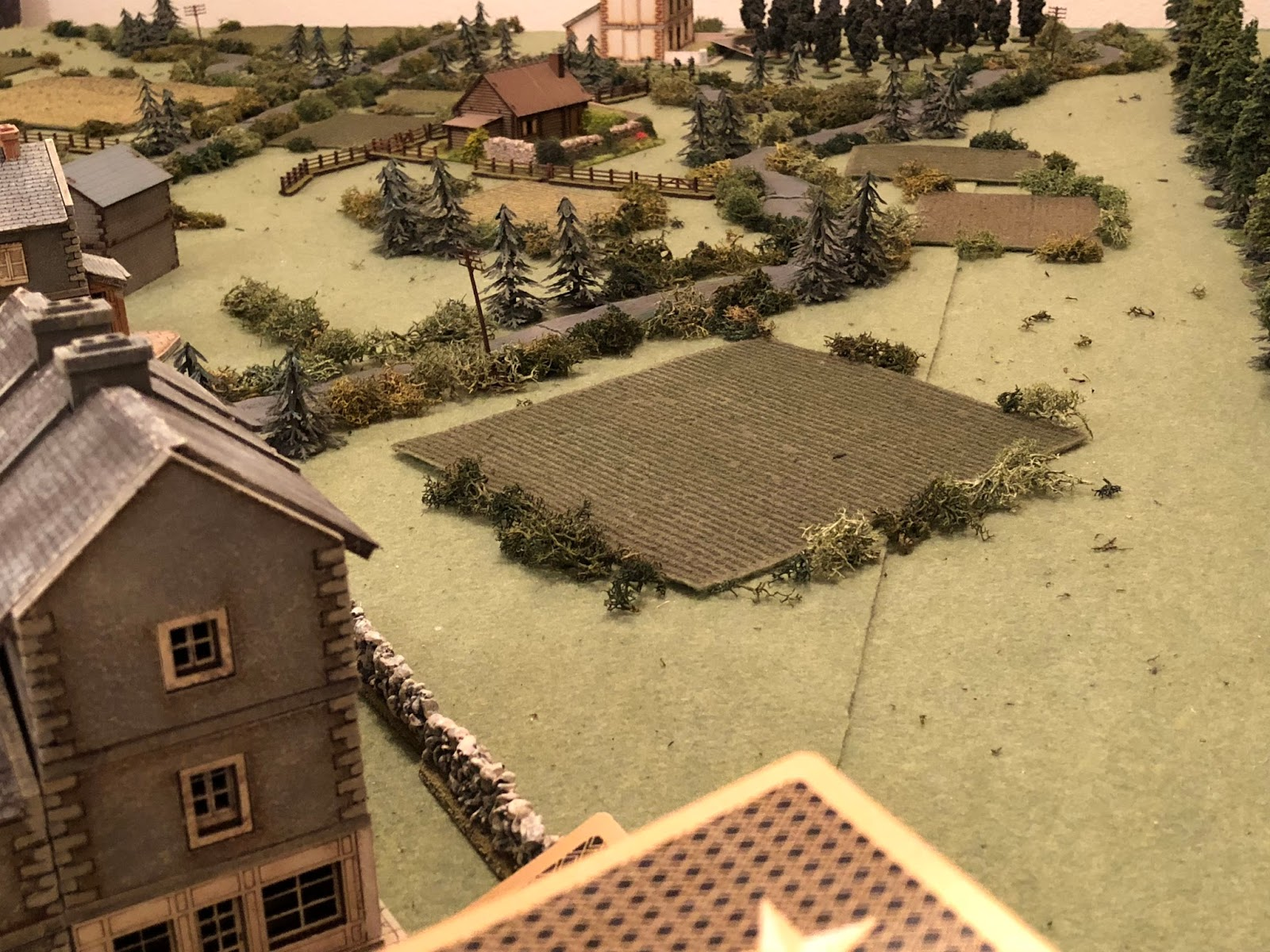 And then French Blinds in the ville (bottom centre) look towards the Farm (top centre, with the German 1st Platoon just to its right)...