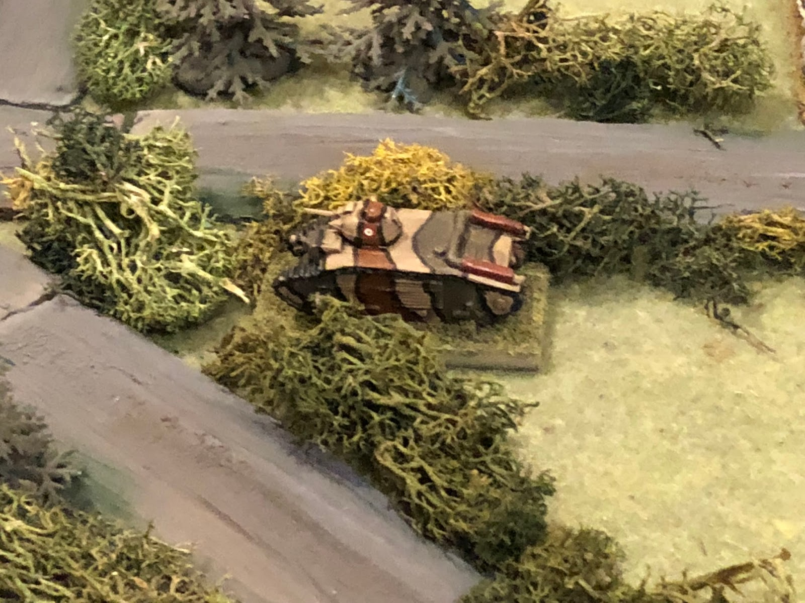 """Contact, enemy tank at the crossroads!!!""  Just so we're all on the same page, I told my boy he's only got one tank, but the Germans can't harm it from the front, that he needed to protect it's flanks and rear, though the Germans could pin/suppress the crew with fire from the front."
