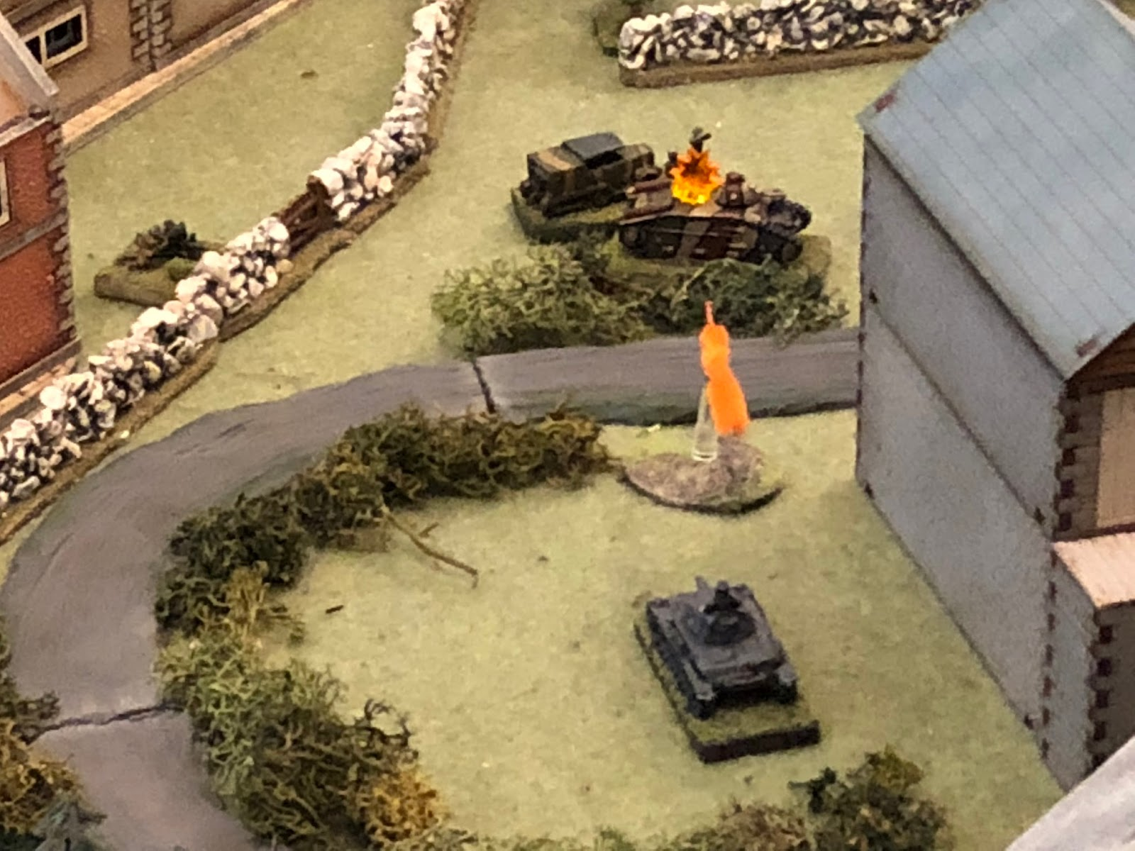 And just as the enemy ATG gets into position (top left), SSgt Mangold's tank fires at the flank of the Char B...