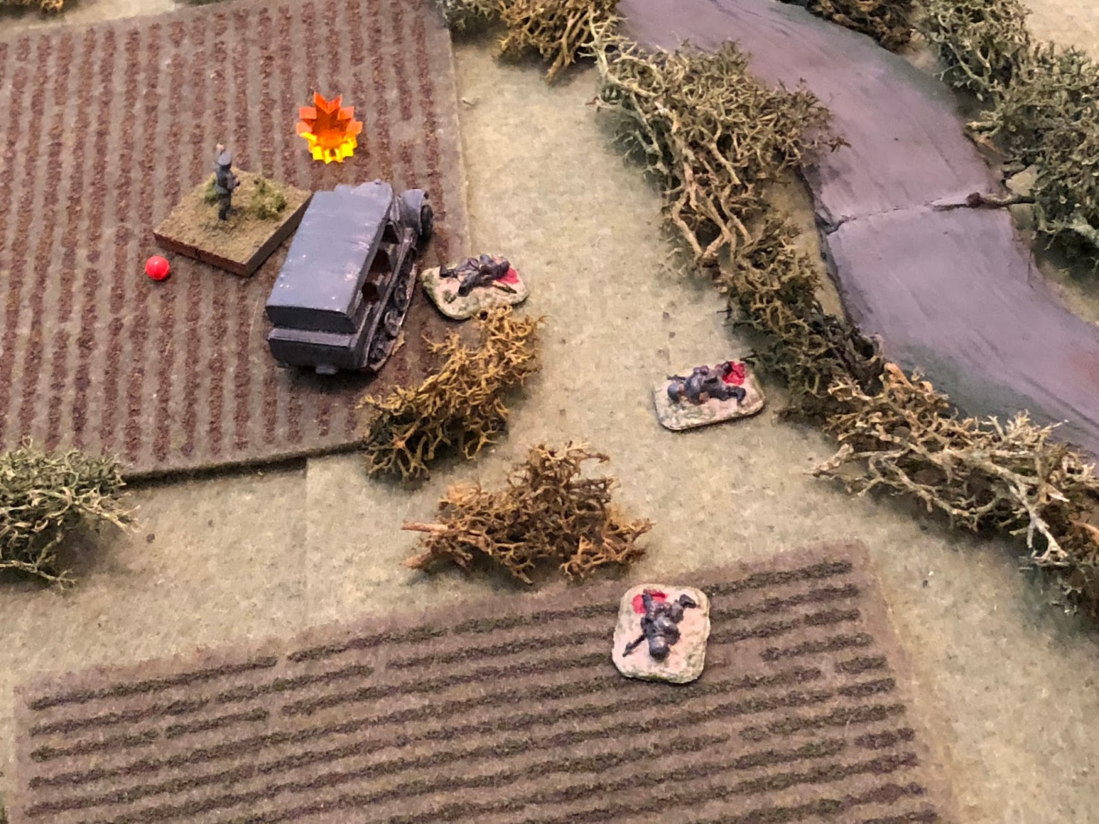 Lt Klugmann is suppressed as Captain Freitag falls, seriously wounded!