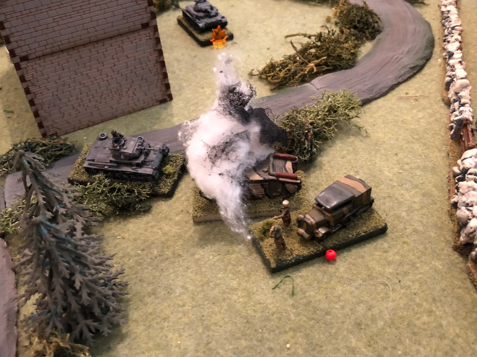When suddenly the massive French tank explodes!!!  And with that, the fight is over.  The French put up quite the spirited defence, but when their tank exploded it snatched the wind from their sails.