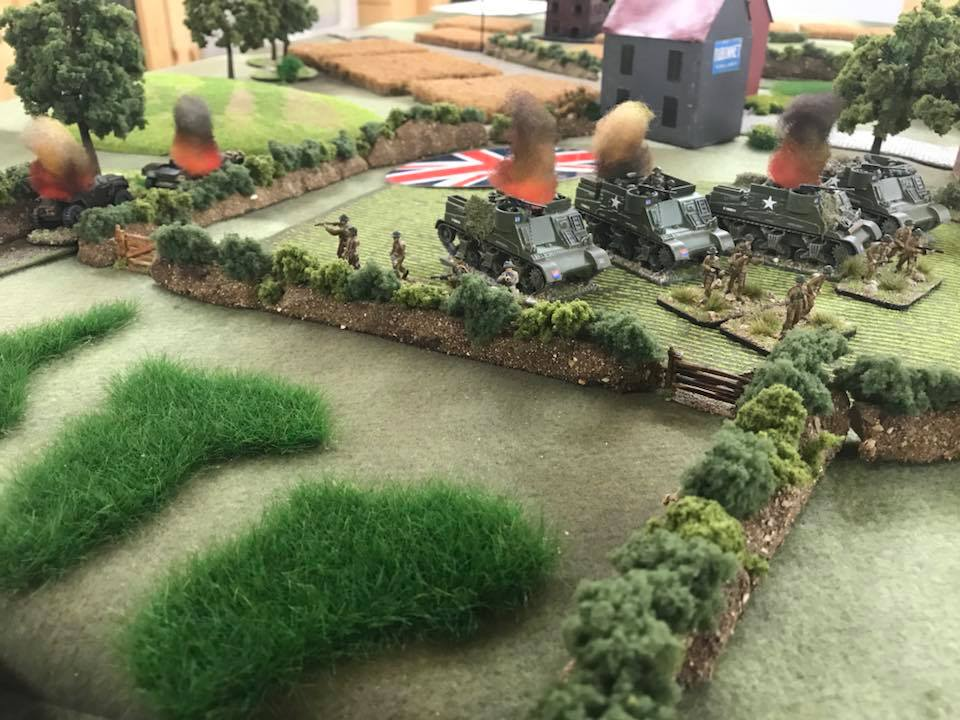 The last move. The Canadian Armoured platoon takes the hedge line, but at what a cost!